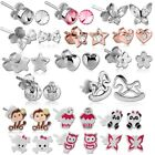 925 Sterling Silver Ear Studs Women Children Girls' Earrings Enamelled Z533