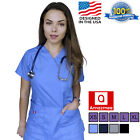 Kyпить Women's Medical Scrubs Uniform Set V-neck Wrap Top with Red Neckline 7 Pockets на еВаy.соm