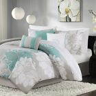 Modern Aqua Blue Grey & White Floral Comforter Set AND Decorative Pillows