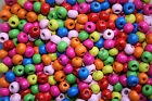 bright coloured wooden beads 5 x 6 mm