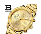 Man Switzerland Binger Watches Sport Watch Stainless Steel Case Gold Yellow 3DWristwatches - 31387