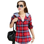 Women Ladies Plaid Check Two Pockets Long Sleeve Casual Cotton Hoodie Shirt Top