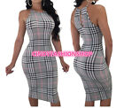 Women  Plaid Printed Sexy Office Spaghetti  Slim Bodycon Classical Dress #S