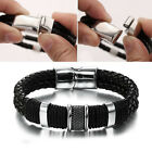 Mens 8'/8.5' Stainless Steel Leather Bracelet Magnetic Silver Clasp Bangle Black
