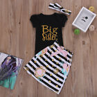 US Baby Girl Clothes Big/Little Sister T-shirt Romper+Pants Dress Skirt Outfits