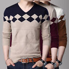 EP_ Korean Fashion Cardigan Jacket Men Knit Pullover Long Sleeve Sweater M-3XL S