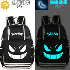 Pokemon Gengar Pikachu Luminous Backpack Schoolbag USB charging Port Laptop Bag