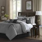 Luxury 7pc Grey & Black Microsuede Comforter Set AND Decorative Pillows image