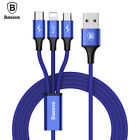 Baseus Multi 3 in 1 USB Charger Charging Cable Cord Micro USB+8 Pin Port+Type-C