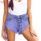 Women Jeans Purple Denim Cutout High Waist Beach Bottom Shorts Pants Outfits