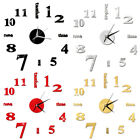 Modern Home DIY Analog 3D Number Mirror Wall Sticker Art Clock Living Room Decor