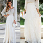 Women's  Long Maxi Dress Lace Double Layer Straight Pleated Elastic Waist Skirt
