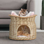 "17"" Wicker Dog Cat Two Bed Basket Pet Rattan House Puppy Sleeping Soft Cushion"