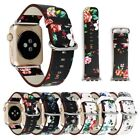 1PC Floral Flower Leather Strap Wrist Band 38/42mm For iWatch Apple Watch 1 2 3 image
