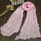 Colorful Women's Warm Wrinkle Long Cotton Crinkle Scarf Shawl Candy 9 Colors New