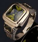 Halo Size 8,9,10,11,12 Peridot 18K Gold Filled Luxury Anniversary Rings For Mens