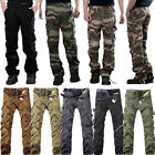 Mens Camo Cargo Combat Long Pants Military Army Camouflage Camping Work Trousers