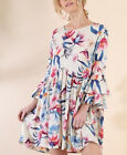 UMGEE Floral Print Layered Bell Sleeve Babydoll boho Dress S M L