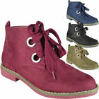 Womens Lace Up Ankle Boots Ladies Low Heel Casual Work Chelsea Flat Shoes Size