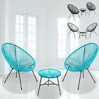 3pc Rattan String Chairs & Round Glass Table Garden Outdoor Furniture Black Grey