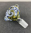 14mm / 18mm Round Wig Wag Glass Slide Bowl - Yellow White Blue