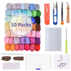 Внешний вид - DIY Needles Felting Starter Kit Handcraft Mat Tools +50 Colors Wool Fibre Roving
