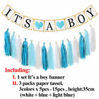 Gender Reveal Banner Garland Paper Pompom Baby Shower Party Decor Boy Or Girl
