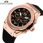 Paulareis Hublot Big Bang Homage Automatic Mechanical Rubber Strap Watch Gold