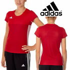 adidas Women's Team T16 T-Shirt Red Running Gym Top Sports T