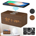 Modern Wooden Wood Digital LED Desk Alarm Clock Thermometer Qi Wireless Charger