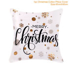 Christmas Pillow Case Glitter Cotton Linen Sofa Throw Cushion Cover Home Decor