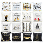 Christmas Pillow Case Glitter Cotton Linen Sofa Throw Cushio