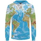 Men 3D World Map Sweater Hoodies Wolf Animals Print T Shirt Pullover Tops