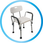 Z-Tec Height Adjustable Shower Chair Stool Mobility Aid with Backrest & Armrests