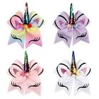 Внешний вид - Multi-color Girls' Unicorn-pattern Big Bow Large Glitter Ponytail Hair Brand