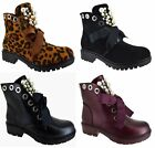 LADIES WOMENS ANKLE LACE UP STUDDED PEALS PUNK MILITARY LOW HEEL ZIP SHOES BOOTS