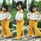 USA Boutique Kids Baby Girls Strap Floral Tops Loose Pants Outfits Set Clothes