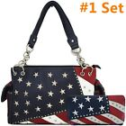 American Flag Stars and Stripes Concealed Carry Purse Crossbody Handbag Wallet