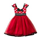 Toddler Baby Girl Minnie Mouse Bow Dress Tutu Skirt Party Fancy Sash Lace Dress