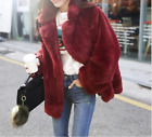Womens Faux Fur Winter Loose Outwear Jackets Casual Thick Parka Wine Tops New