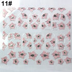 EP_ 3D Embossed Pink Flowers Design Nail Art Decal Tips Stickers Manicure Tool S
