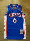 Dr J Julius Erving 6 Philadelphia 76ers Blue Throwback Sewn Jersey Mens