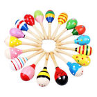 2Pcs Wooden Handle Rattle Shaker Sand Hammer Kids Baby Music Educational Toys