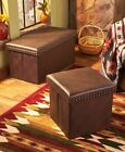 BROWN Faux Leather Storage Ottomans or Benches Cassic Modern Extra Seating