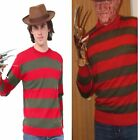 Boy's Men's Freddy Krueger Style Red & Green Stripe Knitted Jumper Fancy Dress