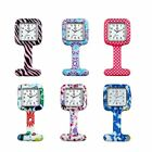 Unisex Printed Square Nurses Clip-on Fob Brooch Silicone Pocket Watch 6 Colors