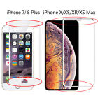 For iPhone XS Max XR 8 7 Plus Curved Full Cover Tempered Glass Screen Protector