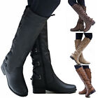 Women Leather Flat Heel Back Lace Up Round Toe Zipper Boot High Knee Shoes US