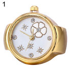 Lady Girl Golden Tone Round Elastic Alloy Quartz Watches Finger Ring Watch New