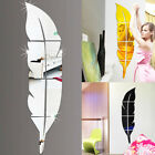 Modern Feather Mirror Removable Art Decal Mural Wall Sticker Diy Home Rome Decor